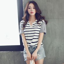 HotBlock - Notched Neckline Striped T-Shirt