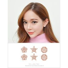 soo n soo - Set of 3: Rhinestone Stud Earrings