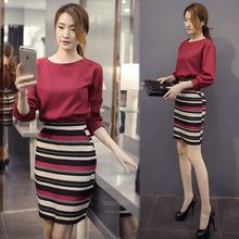 EFO - Set: 3/4-Sleeve Cropped Top + Striped Pencil-Cut Skirt