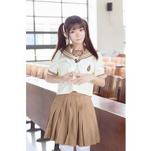GOGO Girl - Set : Sailor Collar Short-Sleeve Top + Pleated Skirt