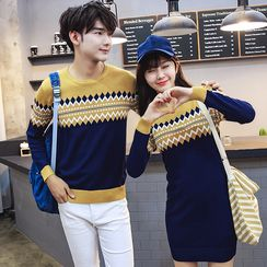 Bonne Nuit - Couple Matching Patterned Color Block Sweater/ Sweater Dress