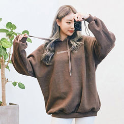 chuu - Hood Lettering Brushed-Fleece Lined Pullover