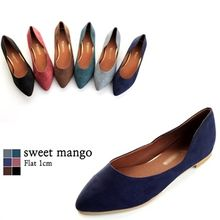 SWEET MANGO - Pointy-Toe Faux-Suede Colored Flats