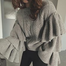 Ashlee - Cable-Knit Ruffled Sweater