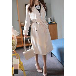 MyFiona - Flap-Front Trench Coat with Sash
