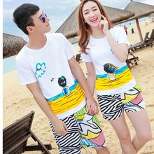 TOOI - Couple Matching Set : Printed Short-Sleeve T-shirt + Swim Shorts