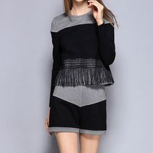 Merald - Set: Long-Sleeve Color Block Top + Shorts