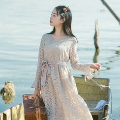 Sens Collection - Long Sleeve Midi Lace Dress