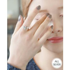 Miss21 Korea - Rhinestone Flower Open Silver Ring