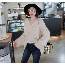 Miamasvin - V-Neck Loose-Fit Cable-Knit Top