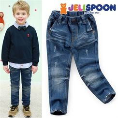 JELISPOON - Kids Band-Waist Distressed Washed Jeans