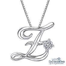 Leo Diamond - Initial Love 18K White Gold Diamond Pendant Necklace (16') - 'Z'