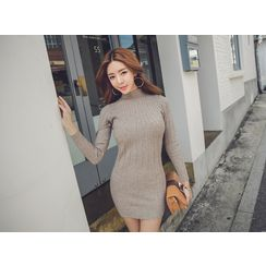 UUZONE - Mock-Neck Ribbed Mini Dress