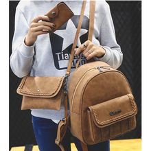 Merlain - Set: Woven Faux Leather Backpack + Shoulder Bag + Key Holder