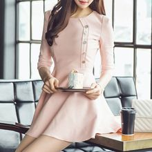 Fashion Street - Buttoned 3/4 Sleeve Mini Dress