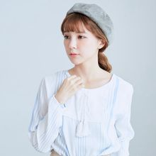 BAIMOMO - Long-Sleeve Tie-Neck Striped Top