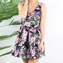 Isadora - Floral Print V-Neck Sleeveless Dress