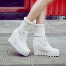 JY Shoes - Knit Panel Hidden Wedge Platform Short Boots
