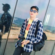 Mr. Cai - Long-Sleeve Hooded Plaid Shirt