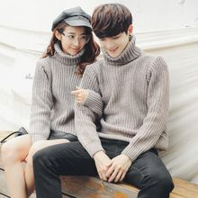 FULLHOPE - Turtleneck Plain Couple Matching Sweater
