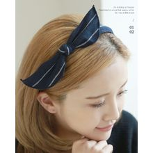 Miss21 Korea - Bow Stripe Fabric Hair Band