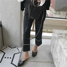 LIPHOP - Piping Accent Straight-Cut Pants