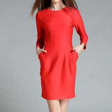 Merald - 3/4 Sleeve Plain Sheath Dress