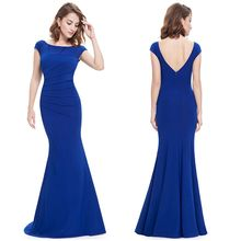 Ever Pretty - Plain Cap-Sleeve Mermaid Evening Gown