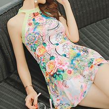 Roseate - Floral Print Open Back Swimdress