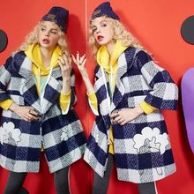 ELF SACK - Wool Blend Check Buttoned Coat