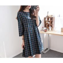 demavie - 3/4-SleeveCheck Shift Dress