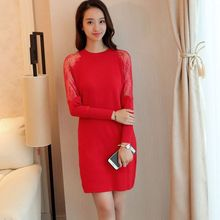 Bubbleknot - Long-Sleeve Lace Panel Knit Dress