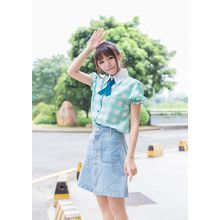 GOGO Girl - Plaid Puff-sleeve Chiffon Blouse