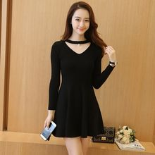 Yumerakka - V-Neck A-Line Knit Dress