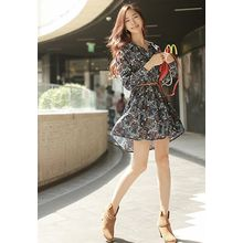 REDOPIN - Floral Print Belted Dress