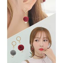 soo n soo - Pompom Dangle Earrings