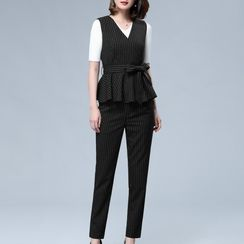Sentubila - Set: V-neck Striped Vest + Slim Fit Pants