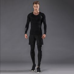 Accentum - Set: Long Sleeve Sports T-Shirt + Sports Shorts + Tights