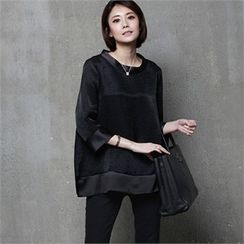 HALUMAYBE - 3/4-Sleeve Slit-Side Top
