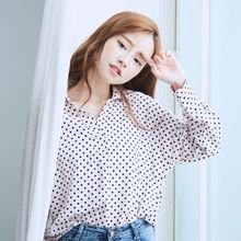 BAIMOMO - Long-Sleeve Paneled Dotted Blouse