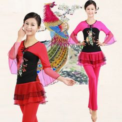 Dancing Queen - Dance Set: Peacock Print Long Sleeve Top + Pants