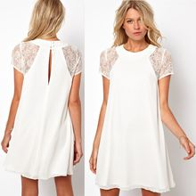 HOTCAKE - Lace Panel Short-Sleeve Chiffon Dress