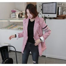 Miamasvin - Faux-Pearl Double-Breasted Tweed Jacket