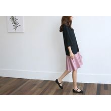 Hello sweety - Color-Block Ruffle-Hem Dress