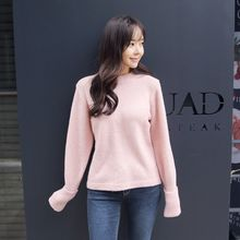 Envy Look - Round-Neck Rollup-Cuff Knit Top