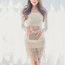Aurora - Set: Cropped Lace Top + Pencil Skirt