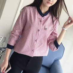 Angel Love - Striped Band Collar Shirt