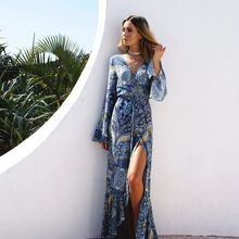 Hotprint - Patterned Long-Sleeve Slit Maxi Sundress