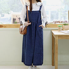 Sechuna - Suspender Denim Maxi Dress