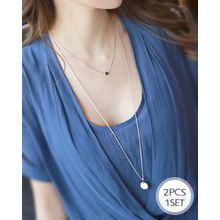 Miss21 Korea - Set of 2: Disc-Pendant Tiered Necklace